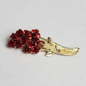 Vintage Danbury Mint For Avon Red Rose Bouquet Brooch DM 97 Gold Plated Broach